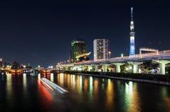 东京和小船在晚上,东京,日本地平线有skytree和河的 库存照片