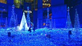 东京圣诞节和冬天在Shiodome晒干照明 免版税库存照片