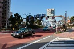 东京在Eitai桥梁前面的街道视图 免版税图库摄影