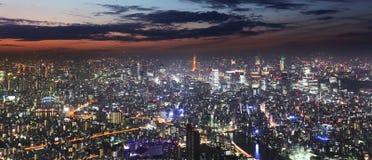 东京地平线全景在从东京铁塔,日本的晚上 库存图片