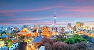 东京地平线看法在微明的 免版税图库摄影