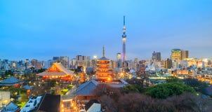 东京地平线看法在微明的 免版税库存照片
