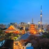 东京地平线看法在微明的 库存图片