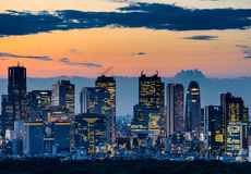 东京地平线美丽的剪影在微明的 库存照片