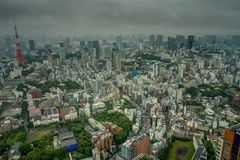 东京地平线视图雾覆盖薄雾 库存图片