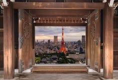 东京地平线,东京市,日本都市风景-东京是wor 免版税库存照片
