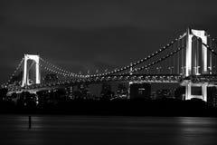 东京地平线&彩虹桥梁在黑&白色 免版税库存图片