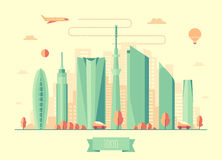 东京地平线建筑学传染媒介设计 库存图片