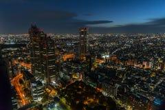 东京夜五颜六色的美丽的城市在日本 库存图片