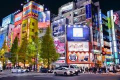 东京夜氖 免版税图库摄影