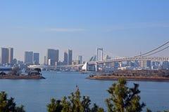 从东京市和彩虹桥梁的鸟瞰图在东京 库存照片