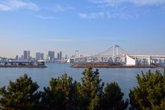 从东京市的鸟瞰图有彩虹桥梁的 日本 库存图片