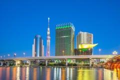东京市,在隅田川的日本地平线在晚上 库存照片