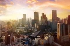 东京市,日本都市风景  现代办公室bui鸟瞰图  免版税库存图片