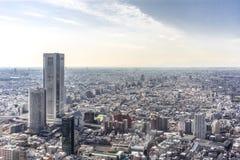 东京市,日本阿里埃勒视图  免版税库存图片