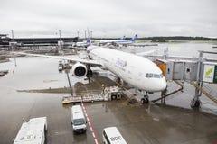 东京日本- 9月10日:泰国空中航线飞机装货乘客 库存图片