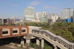 东京湾看法东京单轨铁路车线的 库存照片