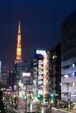 东京街在晚上 库存照片