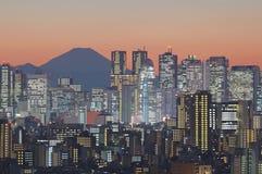 东京都市风景和山在微明的富士 库存图片