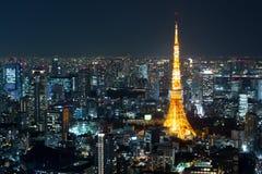 东京都市风景顶视图在夜间,日本的 免版税库存照片