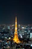 东京铁塔夜间视图,东京市视图在晚上,东京, 免版税库存图片