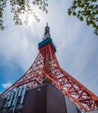 东京铁塔-一个著名地标在城市-东京,日本- 2018年6月12日 库存图片