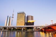 东京,日本地平线在微明下 图库摄影