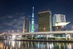 东京,日本地平线夜 免版税库存照片
