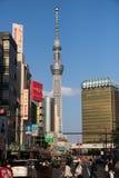 东京,日本, 4月24,2017东京skytree有蓝天背景 库存图片