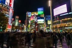 东京,日本, 2016年11月17日:城市街道涩谷横穿与 库存照片