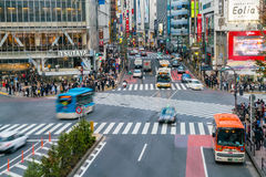 东京,日本, 2016年11月17日:城市街道涩谷横穿与 免版税库存照片