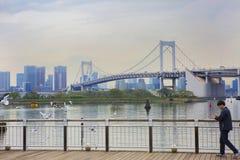 东京,日本, Odaiba海岛 彩虹桥 库存图片