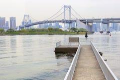 东京,日本, Odaiba海岛 彩虹桥 库存照片