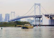 东京,日本, Odaiba海岛 彩虹桥 图库摄影