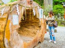 东京,日本- 2017年8月24日:使用在一根大树干的未认出的人民,在Gion Matsuri是最普遍日本的` s 免版税库存图片