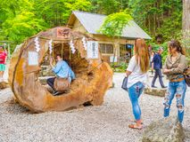 东京,日本- 2017年8月24日:使用在一根大树干的未认出的人民,在Gion Matsuri是最普遍日本的` s 免版税库存照片