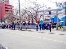 东京,日本- 2017年7月02日:在公园享受看法的人人群在hanami公园在樱花季节期间  免版税库存照片