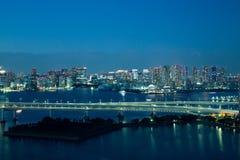 东京,日本- 2017年11月19日:在Odaiba看见夜都市风景和富士山从富士电视台大厦 图库摄影