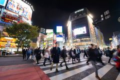 东京,日本- 2017年11月15日:涩谷争夺横穿在东京在晚上,日本 涩谷横穿是一个最繁忙的哥斯达黎加 库存图片