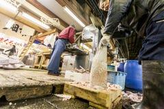 东京,日本- 2010年1月15日:清早在鱼市上 切开金枪鱼的供营商在Tsukiji鱼市上 库存照片