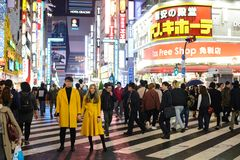 东京,日本- 2017年11月14日:站立这条街道的反面的未认出的夫妇是哥斯拉路 库存照片