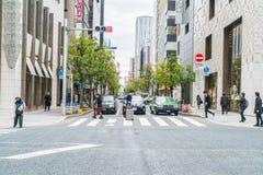 东京,日本- 2016年11月16日:都市风景在东京银座Dis 库存照片