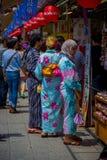 东京,日本2017年6月28日- :看佛教寺庙的Sensoji的未认出的人民商店在东京,日本 免版税库存照片
