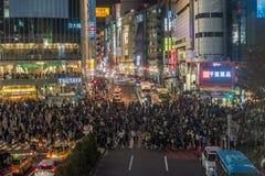 东京,日本- 2014年11月, 22日:涩谷横穿在东京 库存照片