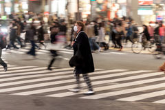 东京,日本- 2017年1月28日:涩谷区在东京 著名和最繁忙的交叉点在世界上,日本 Shibuya横穿 图库摄影