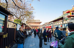 东京,日本- 2013年11月21日:购物在购物街道的游人 库存图片