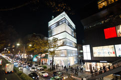东京,日本- 2013年11月24日:购物在Omotesando街道上的游人 库存图片