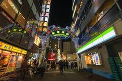 东京,日本- 1月25,2016 :Kabukicho入口门在新宿的Kabuki-cho区 图库摄影