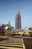 东京- 11月23 :与NTT Docomo代代木大厦的代代木驻地 免版税库存照片