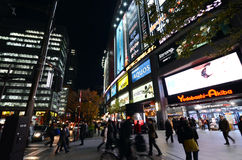 东京- 11月21 :人参观秋叶原11月的商店地区 免版税库存照片